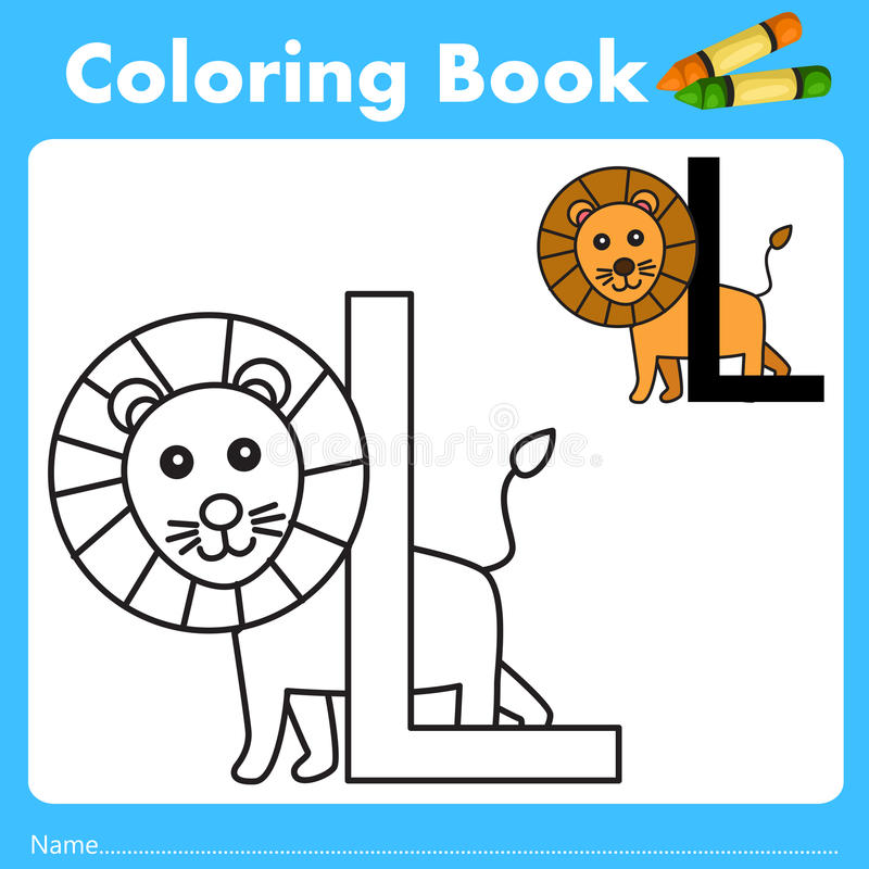 Illustrator of color book with lion animal. Isolated for education stock illustration