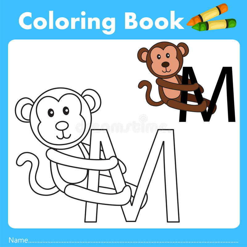 Illustrator of color book with monkey animal. Isolated for education royalty free illustration