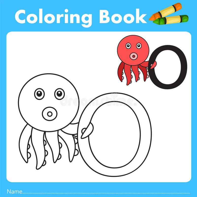Illustrator of color book with octopus animal. Isolated for education royalty free illustration