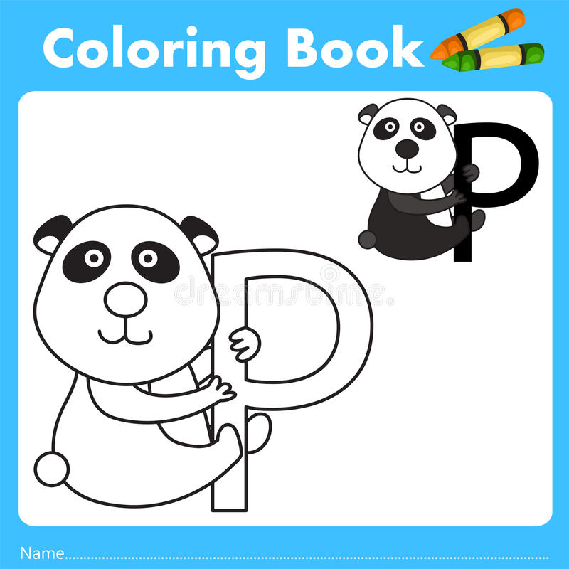 Illustrator of color book with panda animal. Isolated for education royalty free illustration