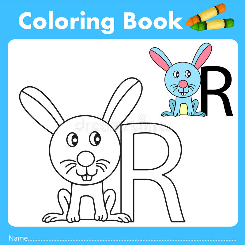 Illustrator of color book with rabbit animal. Isolated for education royalty free illustration