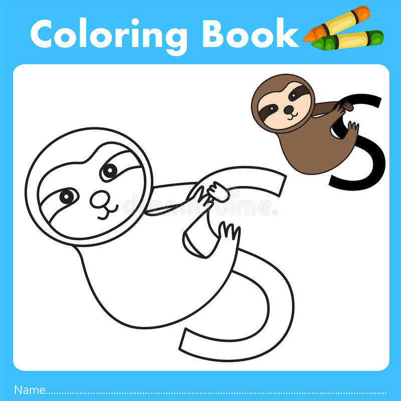 Illustrator of color book with sloth animal. Isolated for education vector illustration