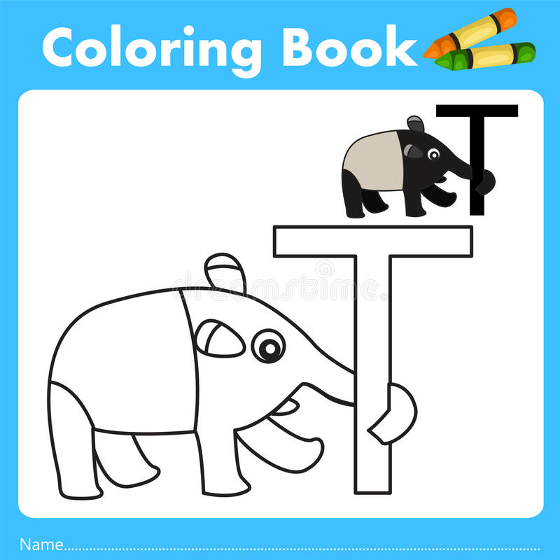 Illustrator of color book with tapir animal. Isolated for education vector illustration