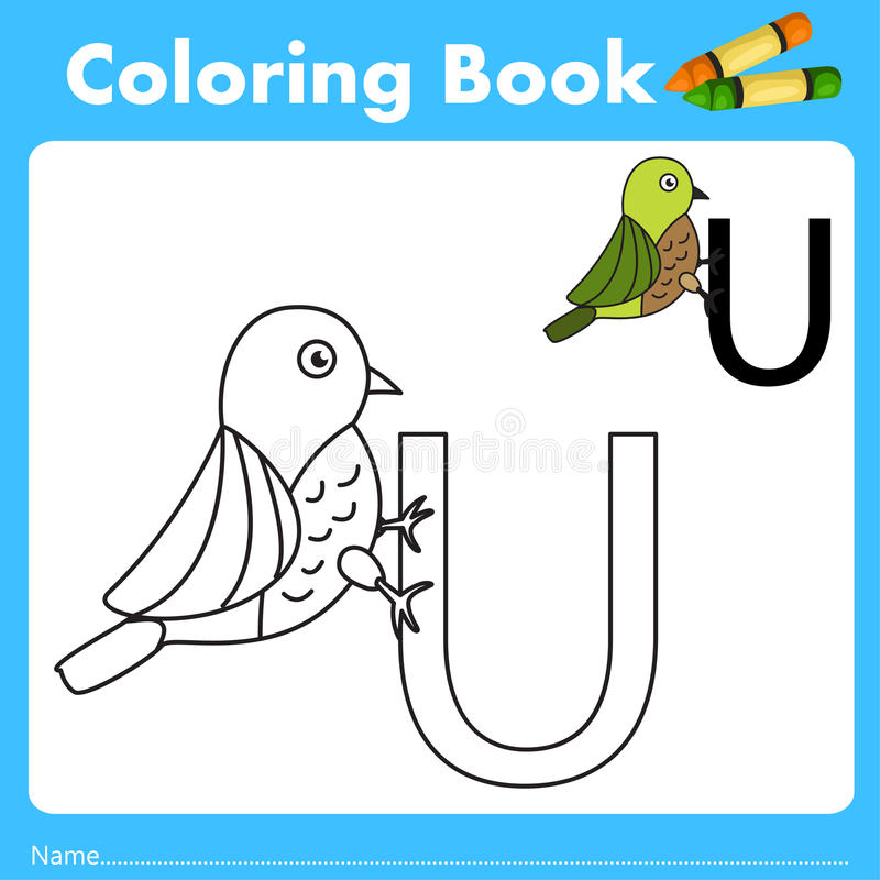Illustrator of color book with uguisu animal. Isolated for education vector illustration