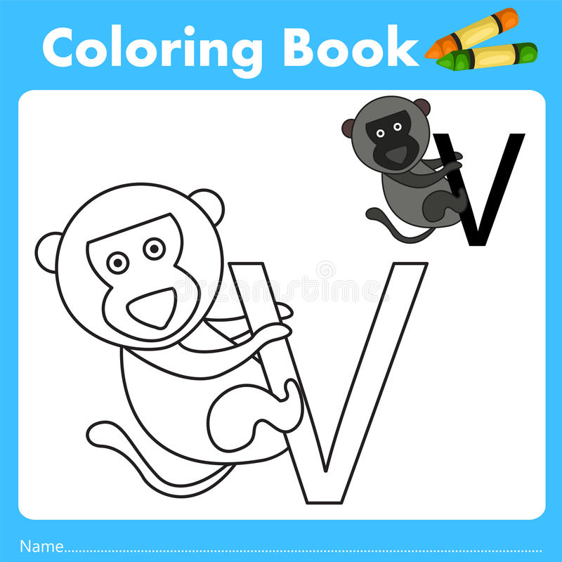 Illustrator of color book with vervet monkey animal. Isolated for education royalty free illustration