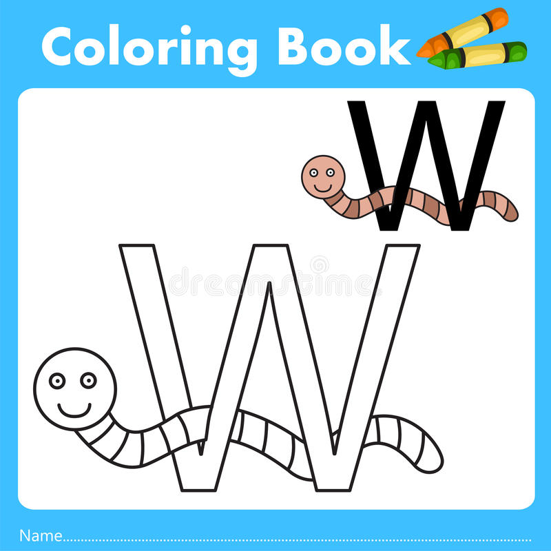 Illustrator of color book with worm animal. Isolated for education vector illustration