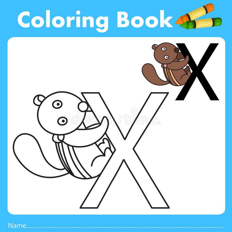 Illustrator of color book with xerus animal. Isolated for education vector illustration