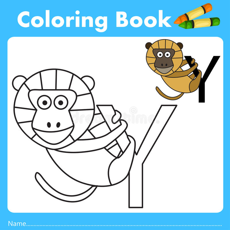 Illustrator of color book with yellow baboon animal. Isolated for education stock illustration