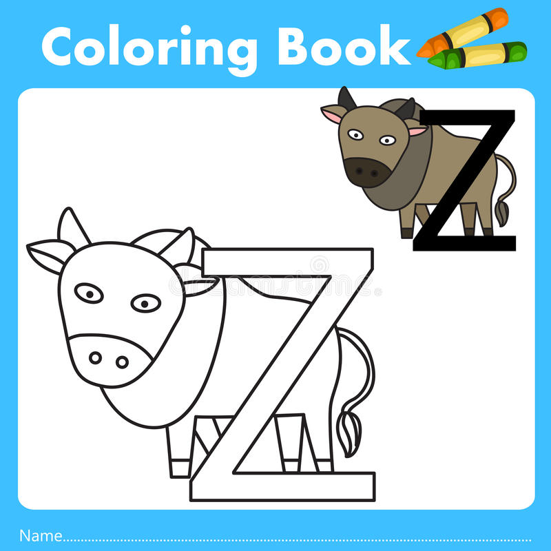 Illustrator of color book with zebu animal. Isolated for education vector illustration
