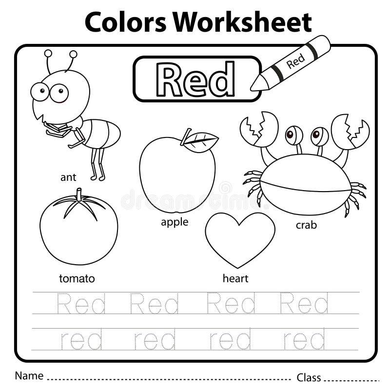 Illustrator Of Color Worksheet Red Stock Vector ...