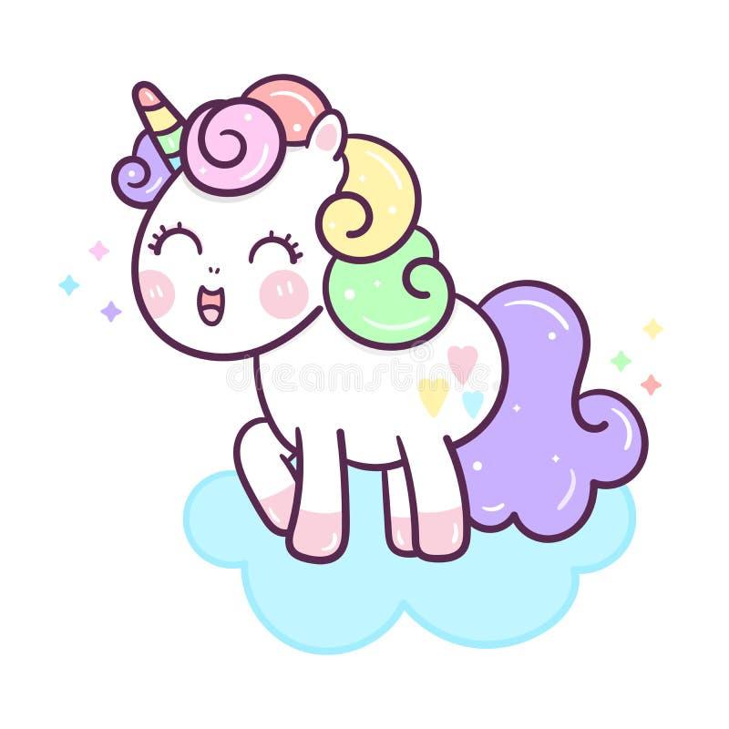 Illustrator of Cute Unicorn vector on the sky, Kawaii pony cartoon, Doodle Nursery decoration, hand drawn isolated on a white back vector illustration