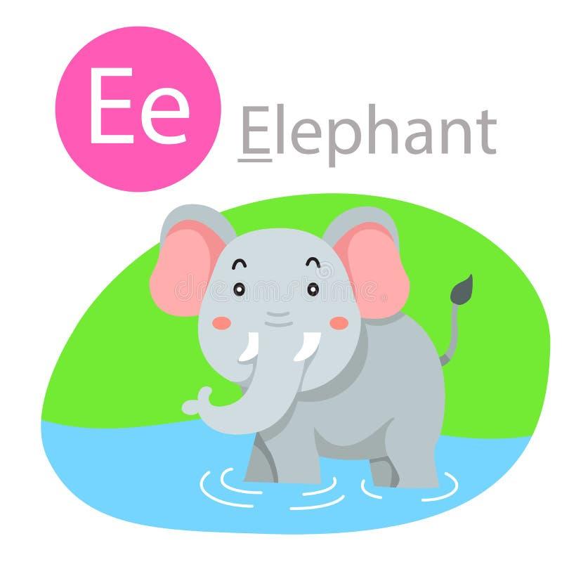 Illustrator de E para el animal del elefante stock de ilustración