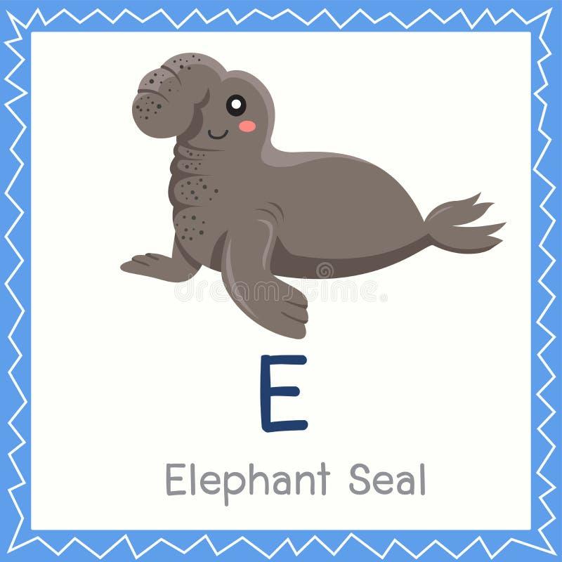 Illustrator de E para el animal del sello de elefante stock de ilustración