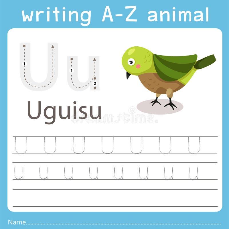 Illustrator de escribir a-z el uguisu animal de u ilustración del vector