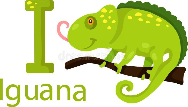 Illustrator de I con la iguana stock de ilustración