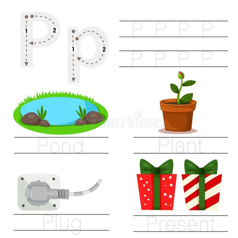 Illustrator de la hoja de trabajo para la fuente de los niños P stock de ilustración