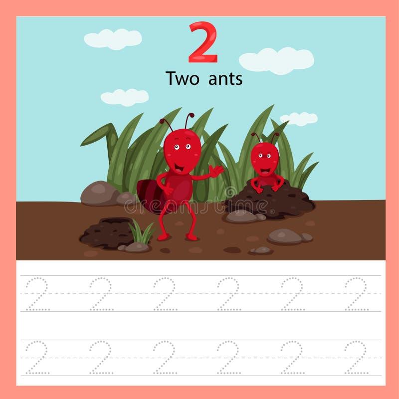 Illustrator de la hormiga de la hoja de trabajo dos stock de ilustración