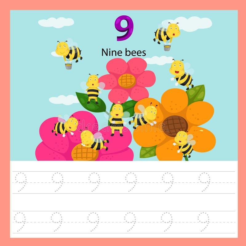 Illustrator de las abejas de la hoja de trabajo nueve stock de ilustración