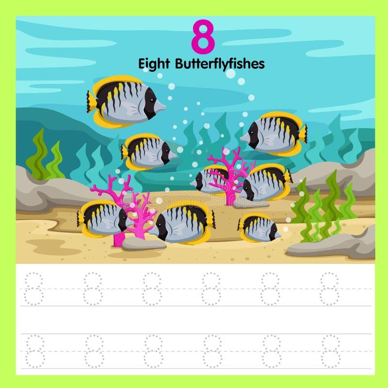 Illustrator de los pescados de la mariposa de la hoja de trabajo ocho libre illustration