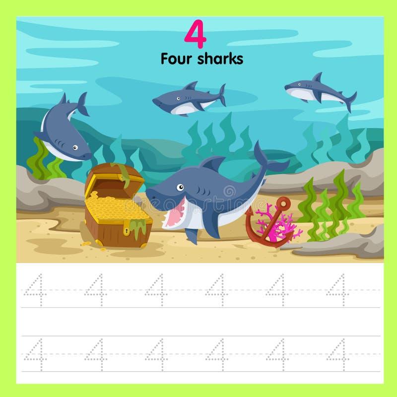 Illustrator de los tiburones de la hoja de trabajo cuatro ilustración del vector
