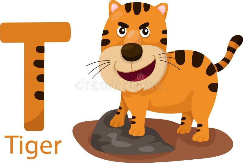 Illustrator de T con el tigre stock de ilustración