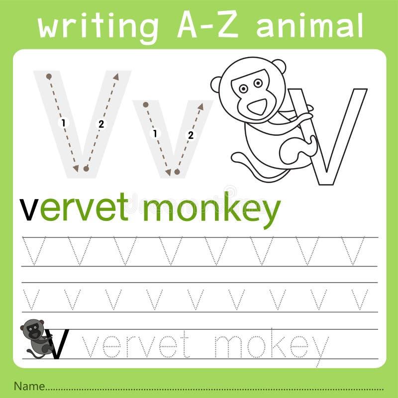 Illustrator del animal del a-z de la escritura v ilustración del vector