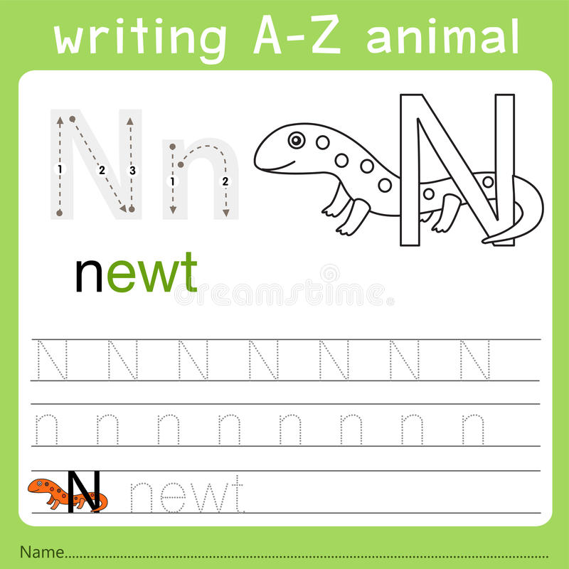 Illustrator del animal n del a-z de la escritura libre illustration
