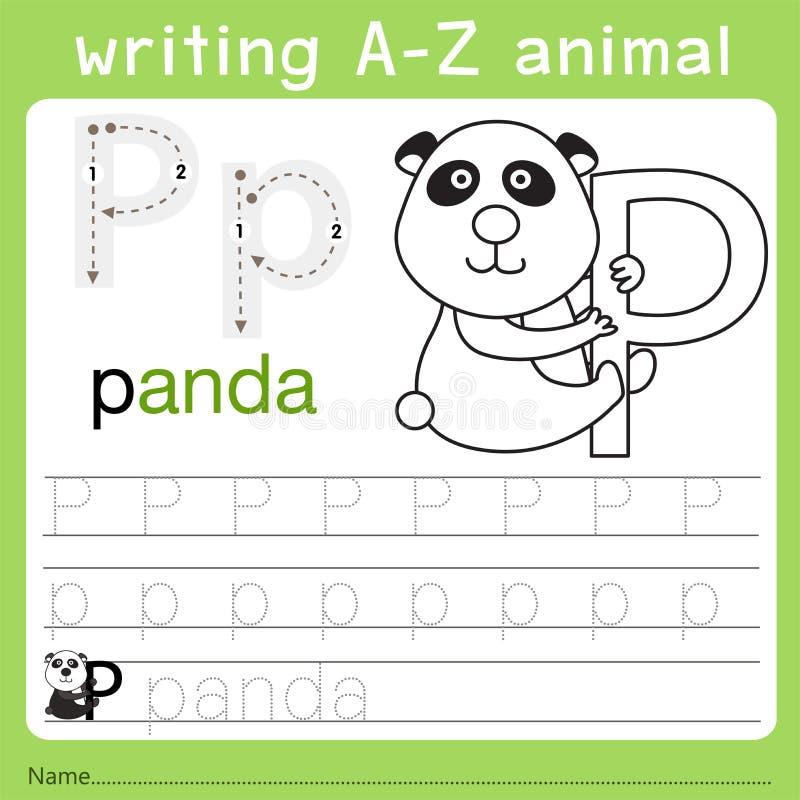 Illustrator del animal p del a-z de la escritura ilustración del vector