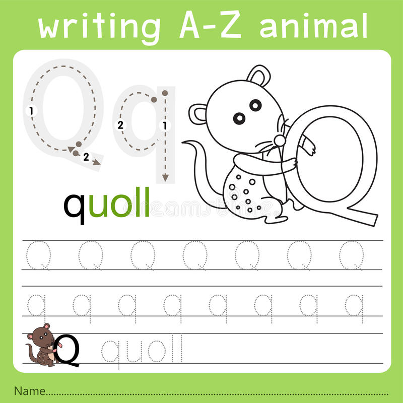 Illustrator del animal q del a-z de la escritura libre illustration
