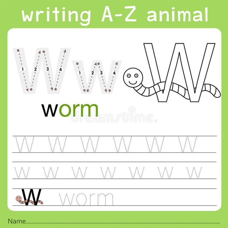 Illustrator del animal w del a-z de la escritura ilustración del vector