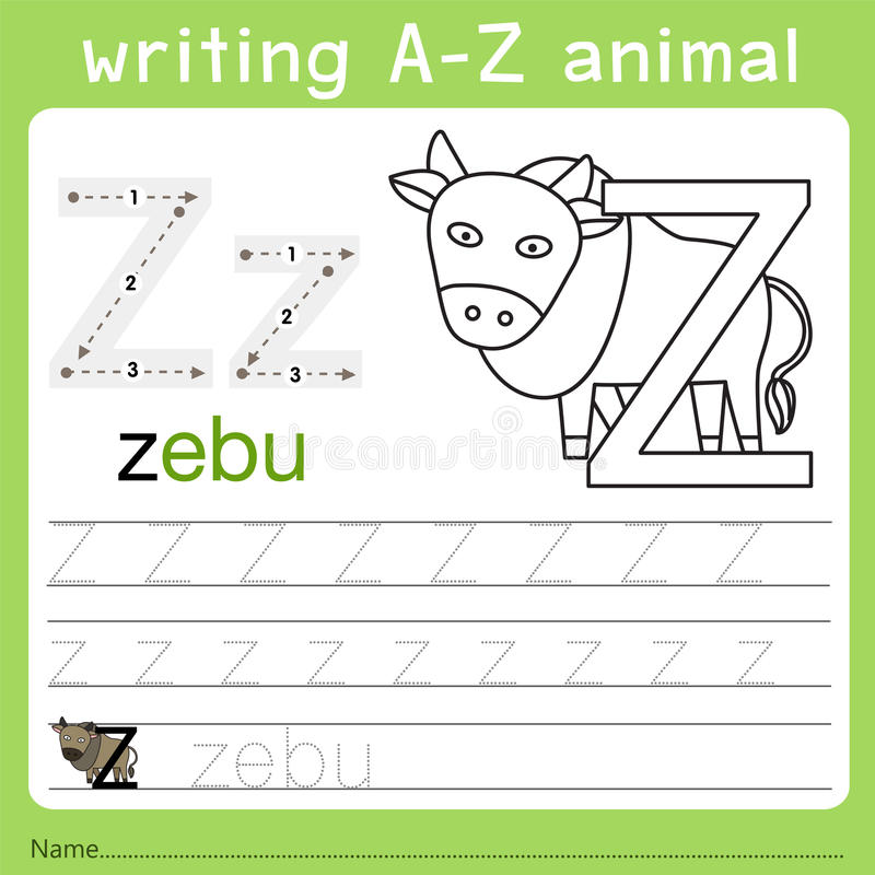 Illustrator del animal z del a-z de la escritura libre illustration