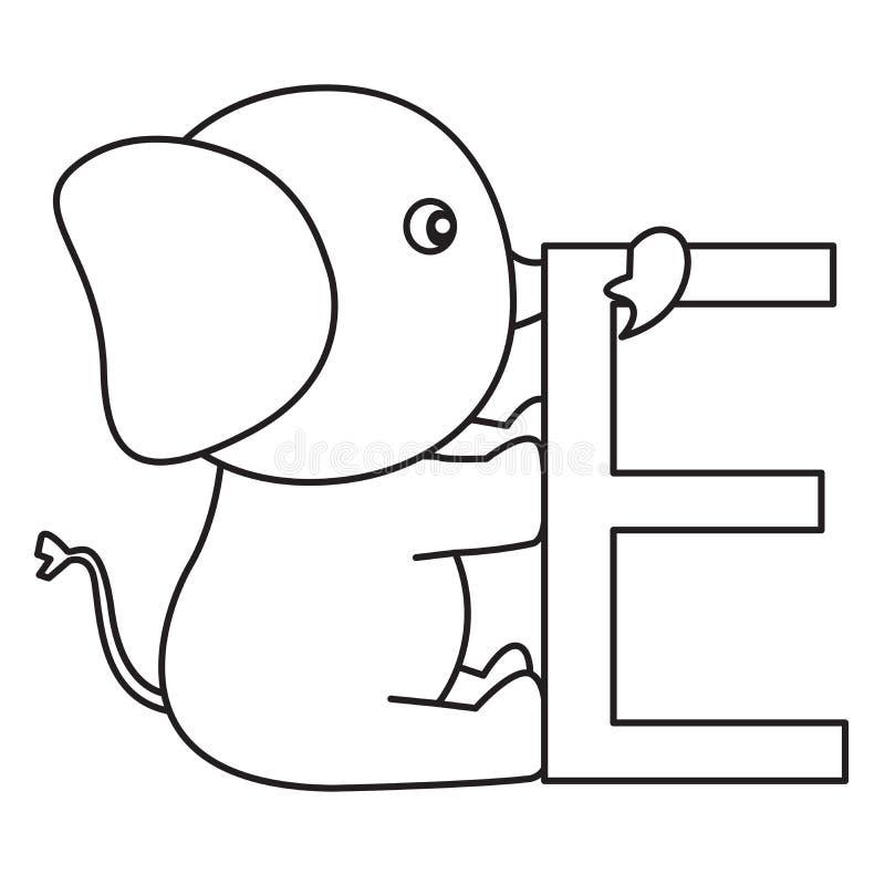 Illustrator del elefante de e ilustración del vector