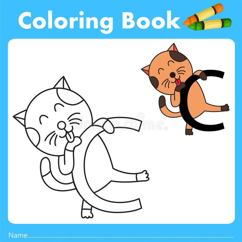 Illustrator del libro del color con el animal del gato libre illustration