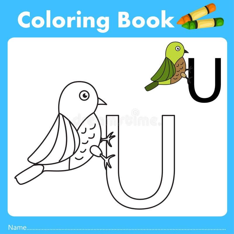 Illustrator del libro del color con el animal del uguisu ilustración del vector