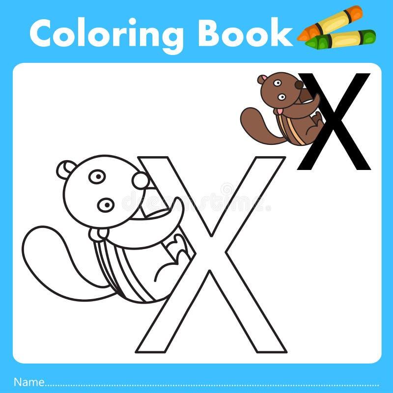 Illustrator del libro del color con el animal del xerus ilustración del vector