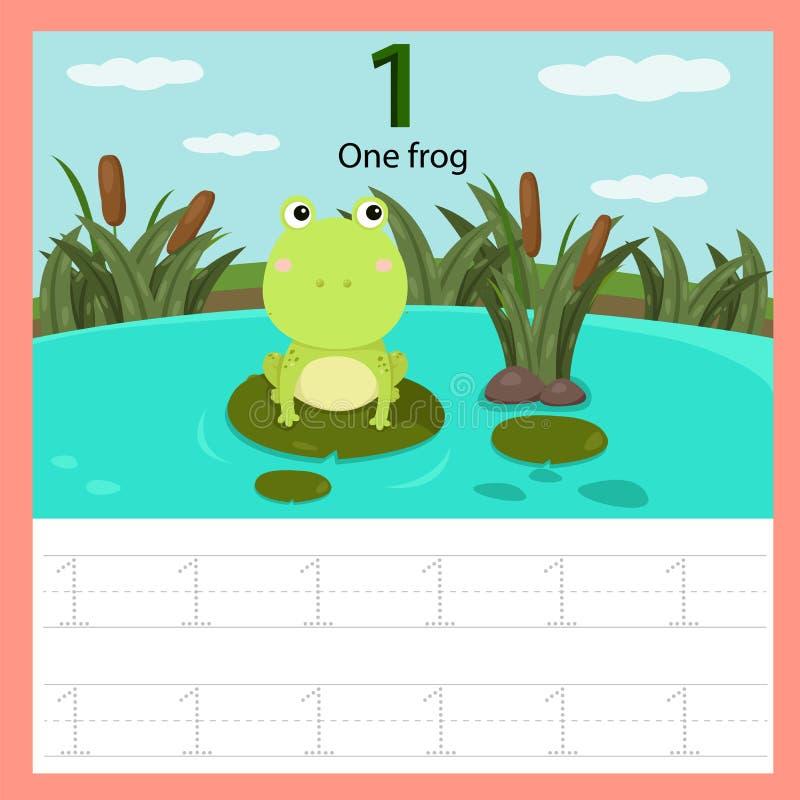 Illustrator des Frosches des Arbeitsblattes eins stock abbildung