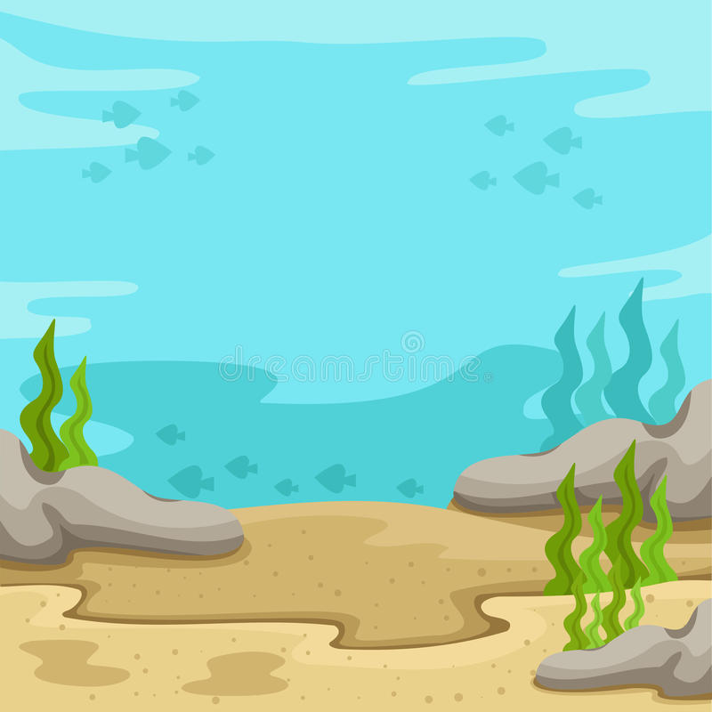 Illustrator des Hintergrundes Unterwasser auf dem Meer vektor abbildung