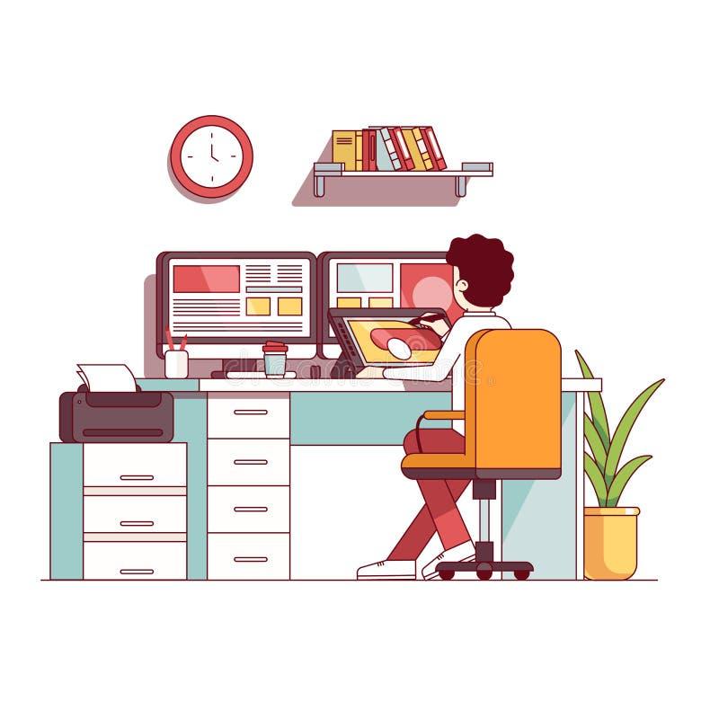 Illustrator and graphic designer drawing on tablet vector illustration