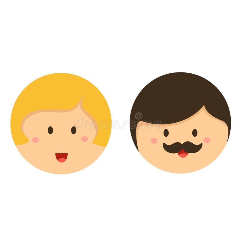 Illustrator icono lindo de la cara del muchacho y de la muchacha stock de ilustración