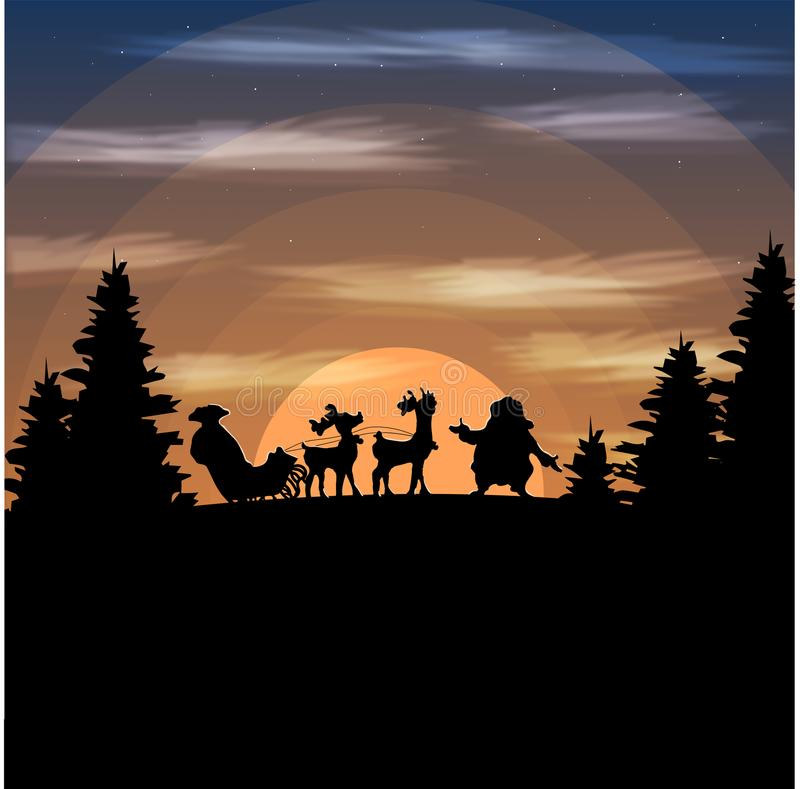 Illustration Landscape mountain Santa Claus lost vector illustration