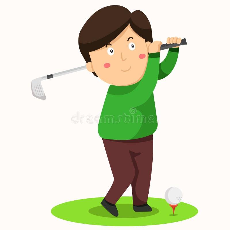 Illustrator of man drive golf stock illustration