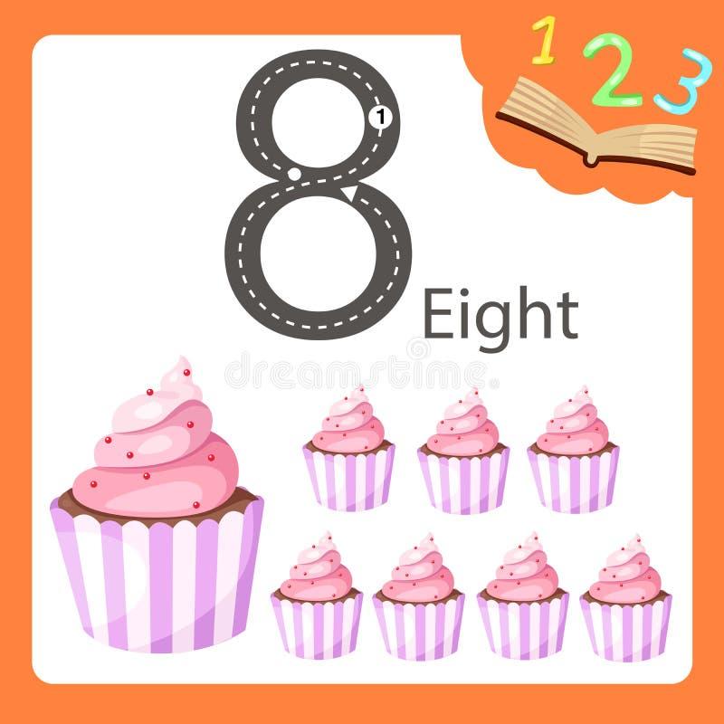 Illustrator van acht aantal cupcake royalty-vrije illustratie
