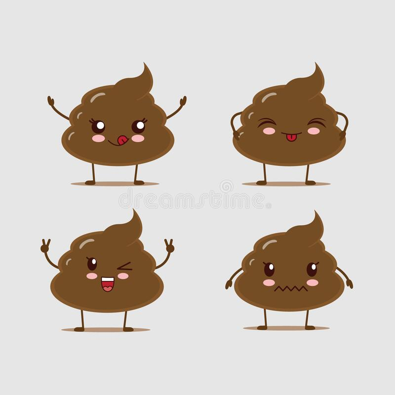 Illustrator vector funny cute poop. good use for icon, expression, etc. royalty free stock image