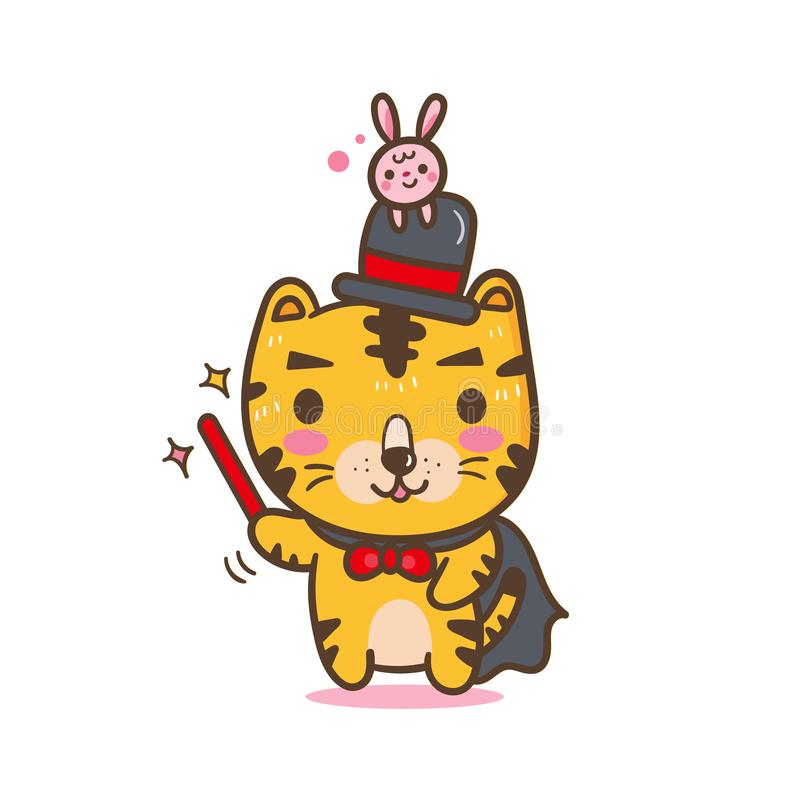 Illustrator von Tigerkarikatur Magicain-Tiger stock abbildung