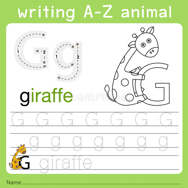 Illustrator of writing a-z animal g. Isolated for education vector illustration