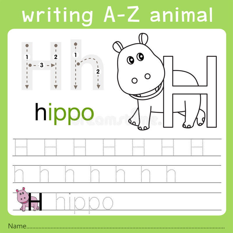 Illustrator of writing a-z animal h. Isolated for education stock illustration