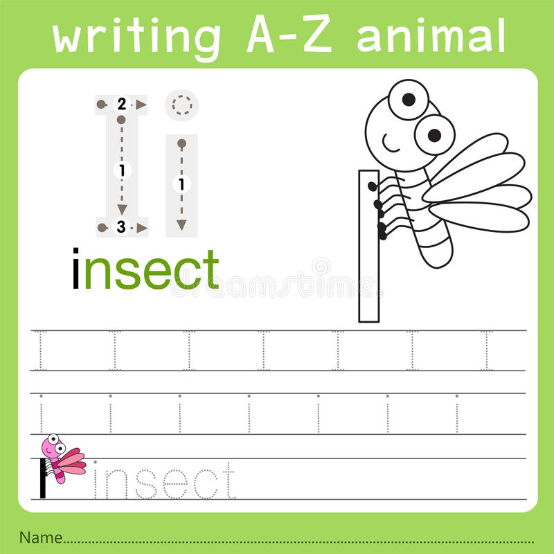 Illustrator of writing a-z animal i. Isolated for education vector illustration