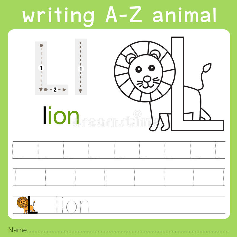 Illustrator of writing a-z animal l. Isolated for education vector illustration
