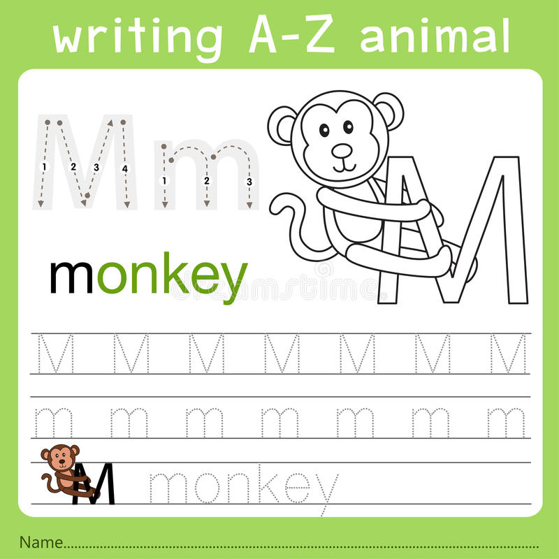 Illustrator of writing a-z animal m. Isolated for education royalty free illustration