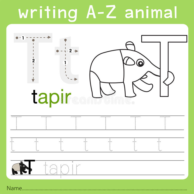 Illustrator of writing a-z animal t. Isolated for education royalty free illustration